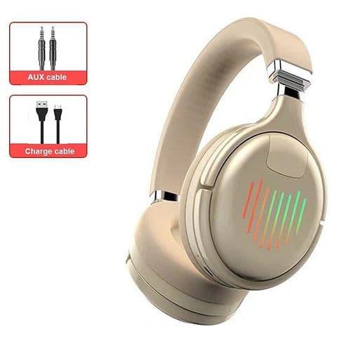 Casque Audio Sans Fil Lumière Led Pliable Sans Fil Bluetooth 5.0 Fente Carte Fm
